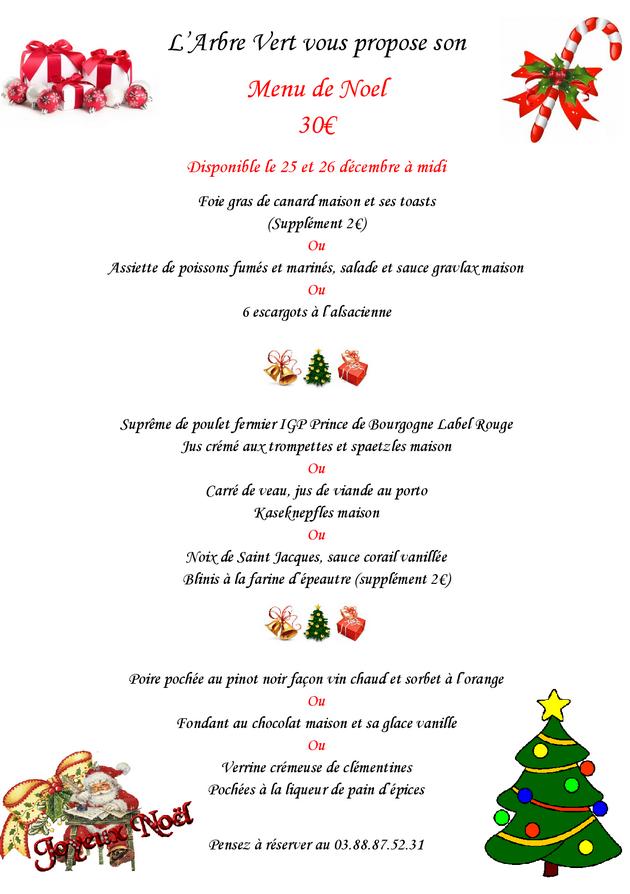 2016 12 09 restaurant a l arbre vert menu de noel