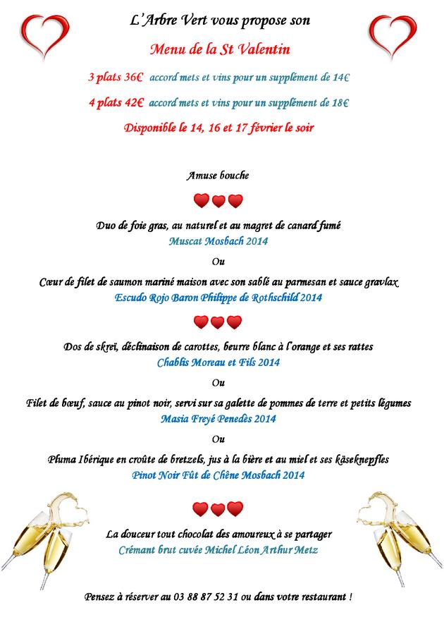 2017 02 07 restaurant l arbre vert menu st valentin