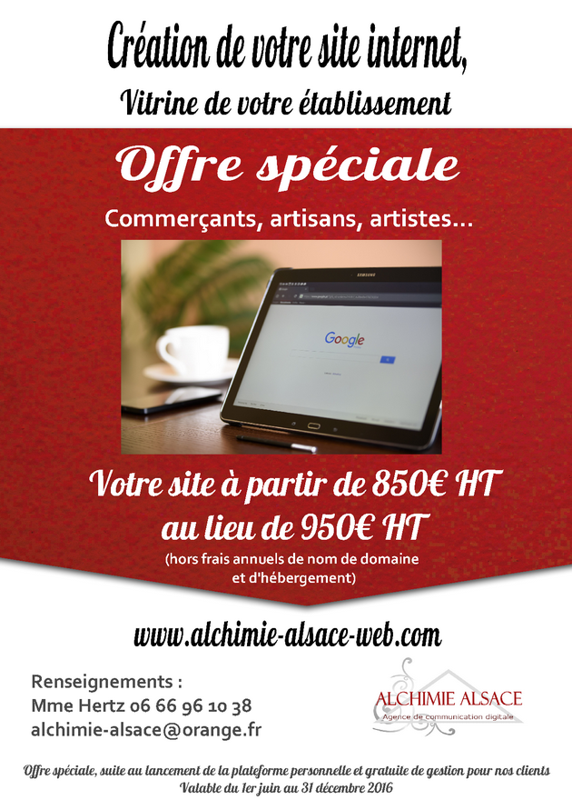 Alchimie alsace web offre speciale site vitrine