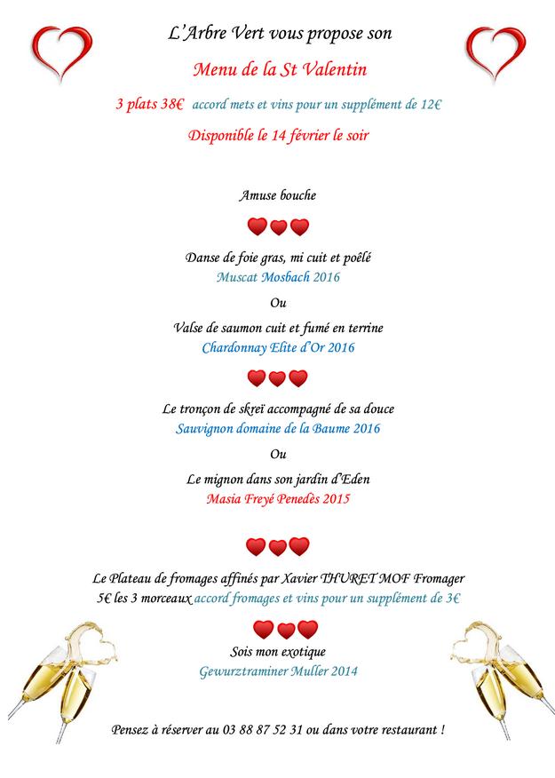 2018 02 06 restaurant a l arbre vert marlenheim menu st valentin