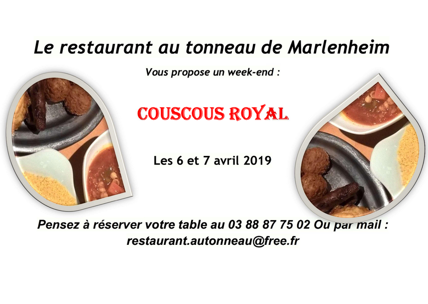 2019 03 13 restaurant au tonneau week end couscous avril 2019