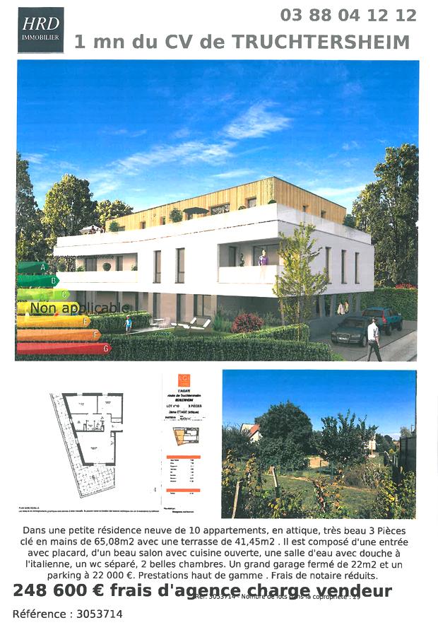 Appartement neuf 3P en attique à vendre à Truchtersheim