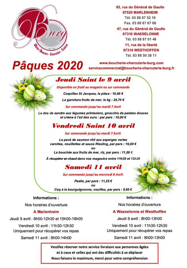 2020 04 02 boucherie burg traiteur menu paques 2020
